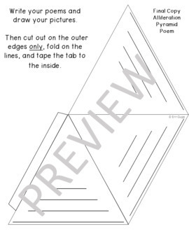 Alliteration Pyramid Poem: Lesson Plans and Printables for