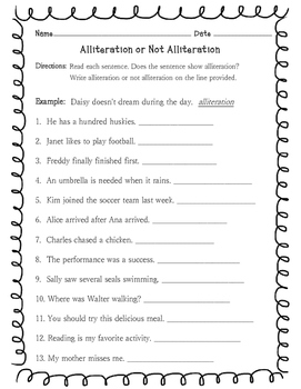 Alliteration Or Not Alliteration Worksheet By Learning Is