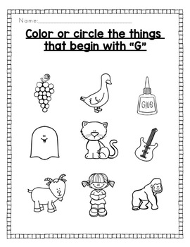 Alphabet Activities: Color or Circle the Beginning Sound
