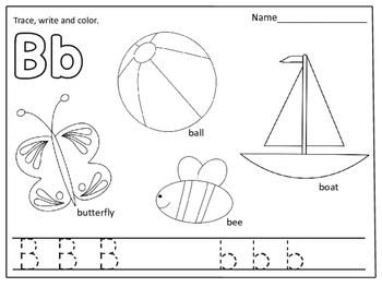 Alphabet Coloring Pages (Color, trace and write): by Kids