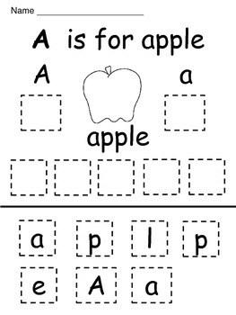 Kindergarten / First Grade Alphabet Cut and Paste by A