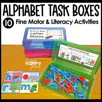 Alphabet Fine Motor Skills Task Boxes By My Happy Place TpT