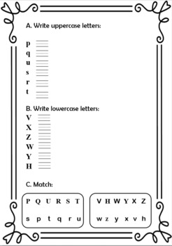 Alphabet Letters M to Z Writing Practice Worksheets by