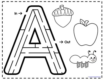 Alphabet Mazes and Beginning Sounds Coloring by Homeschool