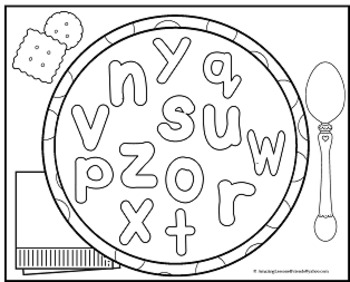Alphabet Soup Mats and Coloring Sheets by