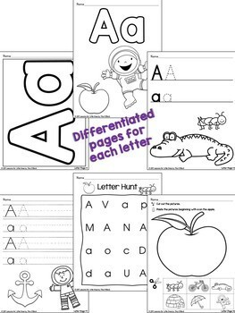 Alphabet Worksheets, Handwriting Pages, Letter Cards