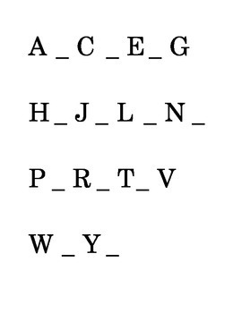 Alphabetical order ABC's Fill in the Blank Reading