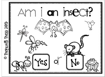 Am I An Insect? Interactive Emergent Reader & Worksheet by