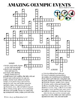 Amazing Olympic Events ( Summer and Winter ) Crossword