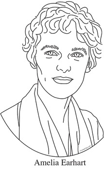 Amelia Earhart Realistic Clip Art, Coloring Page and