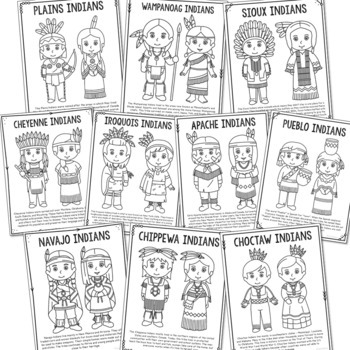 10 American Indian Tribes Coloring Pages Craft Posters