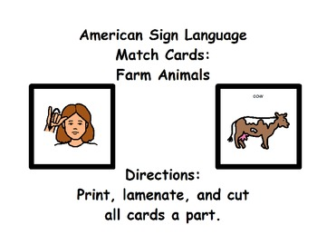 American Sign Language Match Cards: Farm Animals (ESE or