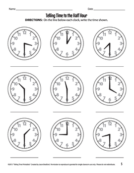 Analog Clock Practice Worksheets / Printables by Jason
