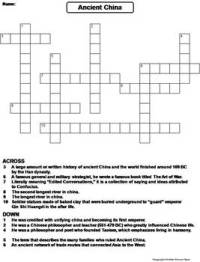 Ancient China Worksheet/ Crossword Puzzle by Science Spot ...