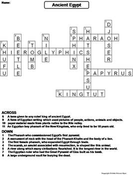Ancient Egypt Worksheet/ Crossword Puzzle by Science Spot