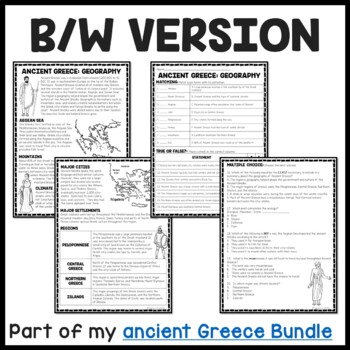 Ancient Greece: Geography Reading Comprehension Worksheet