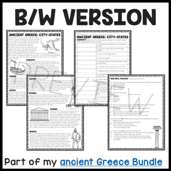 Ancient Greece City-States Reading Comprehension Worksheet