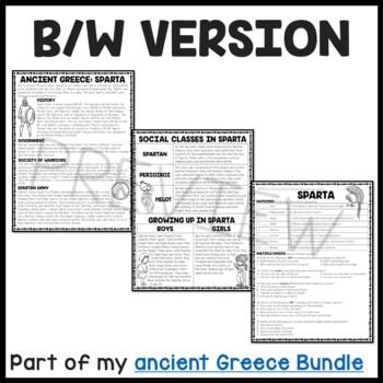 Ancient Greece: Sparta Reading Comprehension Worksheet