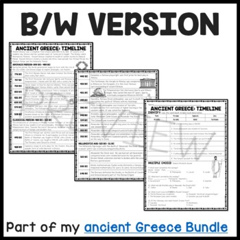 Ancient Greece: Timeline Reading Comprehension Worksheet