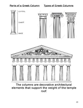 Ancient Greek Architecture, Writing & Mythology Lesson and