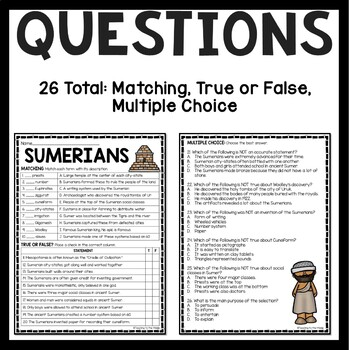 Ancient Mesopotamia Sumerians Reading Comprehension
