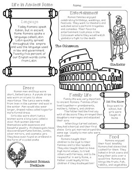 Ancient Rome {Activities, Worksheets, & Handouts} by Free