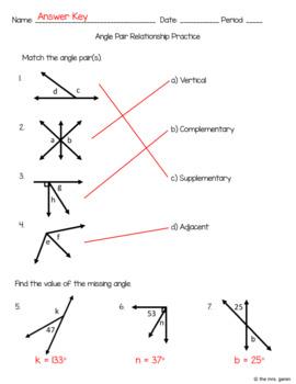 Angle Relationships Worksheet Answer Key : angle, relationships, worksheet, answer, Angle, Relationship, Practice, Worksheet, Garen