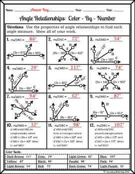 Angle Relationships Worksheet Answer Key : angle, relationships, worksheet, answer, Angle, Relationships, Color-By-Number, Worksheet, Secondary