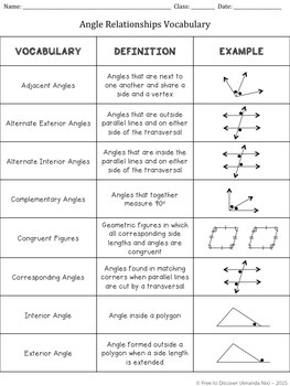 Angle Relationships Discovery Worksheets By Free To Discover  Tpt