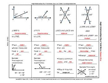 Angle Relationships Flip N' Fold Notes By Margaret Miller  Tpt