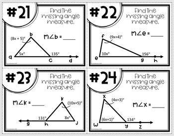 Angle Theorems for Triangles- Task Cards & MATHO by Lisa