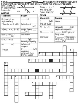 Proving Lines Parallel Geometry Proofs Crossword Puzzle by