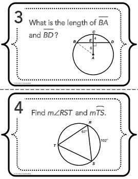 Angles and Arcs in Circles Task Cards by Mrs E Teaches