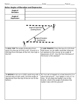 Angle Of Elevation And Depression Worksheet Answers With Work : angle, elevation, depression, worksheet, answers, Angle, Elevation, Depression, Worksheets, Teaching, Resources