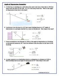 Angles Of Elevation And Depression Worksheet - Checks ...