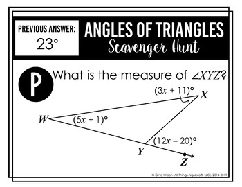 Angles of Triangles Scavenger Hunt (Includes Equilateral