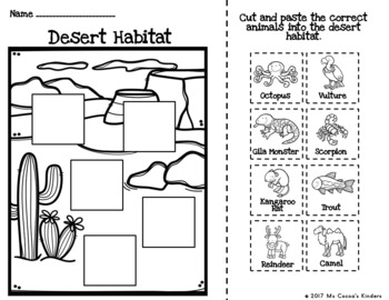 Animal Habitat Sort with No Prep Cut and Paste Practice