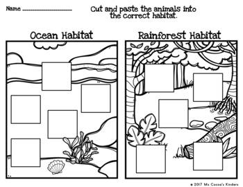 Animal Habitat Sort with No Prep Cut and Paste Practice