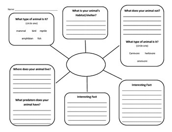 Animal Informative Writing Graphic Organizer by Nicole