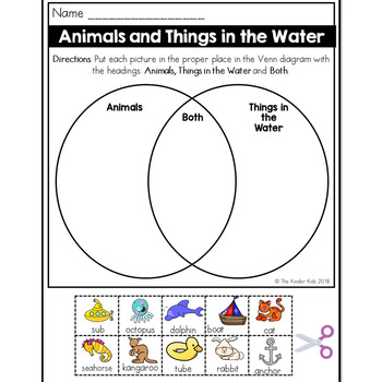 Animals and Things in the Water Venn Diagram Worksheet by