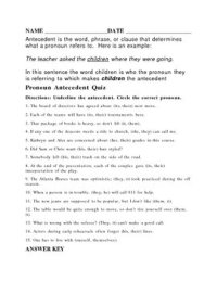 Antecedent worksheet or quiz with answer key by HIGG | TpT