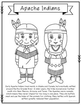 Apache Indians Coloring Page Craft and Poster, Indian