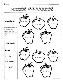 Apple Addition / Fall Math Worksheet / 1st Grade by Kelly