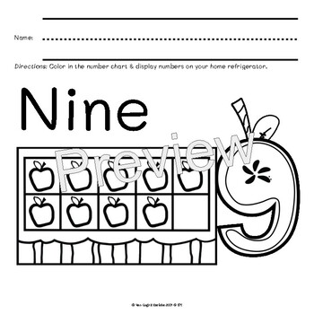 (3 Day Freebie) Apple Number Anchor Charts & Coloring Book