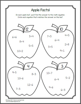 Apple Worksheets for Kindergarten and First Grade by Mama