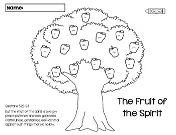Apple Tree Color by Word Fruit of the Holy Spirit by
