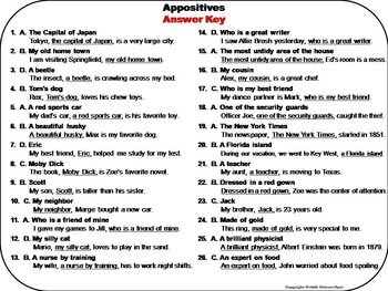 Appositives Task Cards 4th 5th 6th 7th Grade Grammar