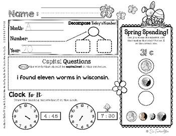 April Daily Literacy & Math Morning Work {Kindergarten