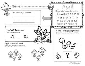 April Daily Literacy & Math Morning Work {Pre-K