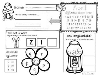 April Daily Literacy & Math Morning Work {Pre-K & K